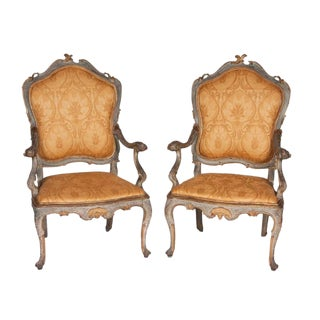 Fine Pair of Venetian Rococo Blue Painted and Gilded Armchairs