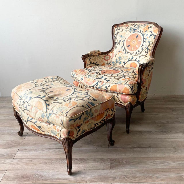 """Fantastic Louis XV Style Down-Filled Armchair and Ottoman in old Brunschwig & Fils """"Dzhambul"""" fabric. This is a really..."""