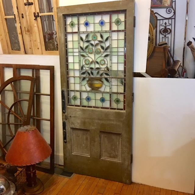 English Beautiful 1920's English Stained Glass Door For Sale - Image 3 of 11