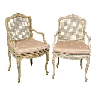 French Louis XV Painted Cane Chairs - A Pair