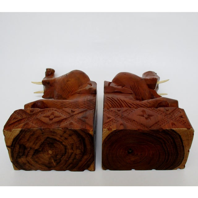 Carved Wood Elephant Bookends - A Pair - Image 6 of 6