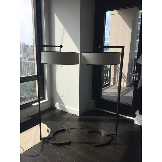 Contemporary Metal Silk Shade Floor Lamp 2 Available For Sale - Image 10 of 11