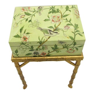 Chelsea House Decoupage Box on Gilded Faux Bamboo Stand