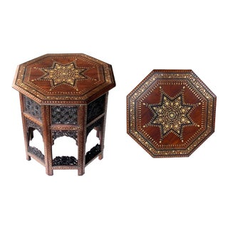 A Large and Intricately Inlaid Anglo Indian Octagonal Side Table With Brass Inlay For Sale