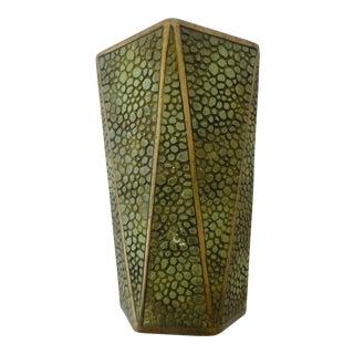 Mid Century Brass Bound Faux Lizard Vase