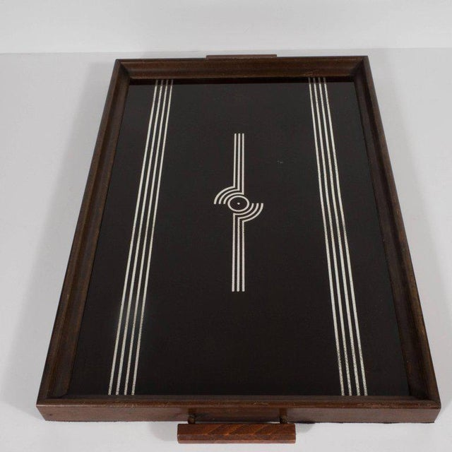 Glass Art Deco Machine Age Streamlined Sterling Silver Glass Tray, Walnut Perimeter For Sale - Image 7 of 11