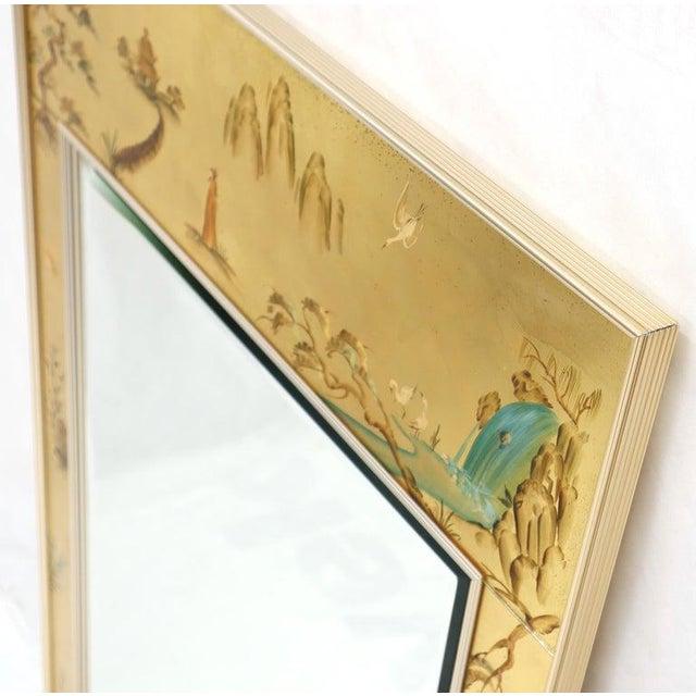 Glass La Barge Reverse Painted Gold Leaf Rectangular Frame Decorative Mirror For Sale - Image 7 of 13