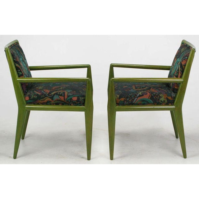 1950s Four T.H. Robsjohn-Gibbings Moss Green Walnut Arm Chairs For Sale - Image 5 of 10