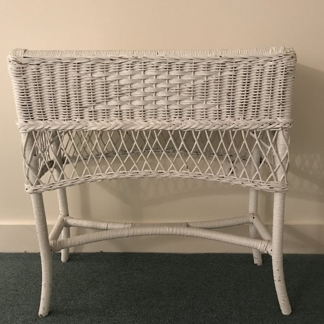 Boho Chic Vintage Wicker Plant Stand For Sale - Image 3 of 13
