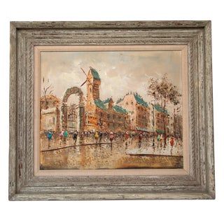 Large Italian Mid-Century Impressionist Cityscape Oil Painting For Sale