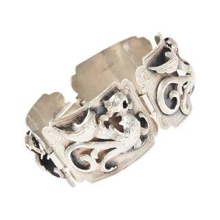 Argentinian Signed Dimensional Textural Sterling Silver Bracelet For Sale