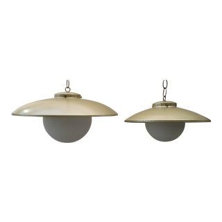 Vintage Mid-Century Modern Atomic Ufo Gold Light Fixtures - a Pair For Sale