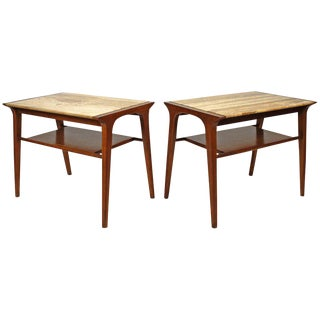 John Van Koert Walnut and Travertine Side Tables for Drexel
