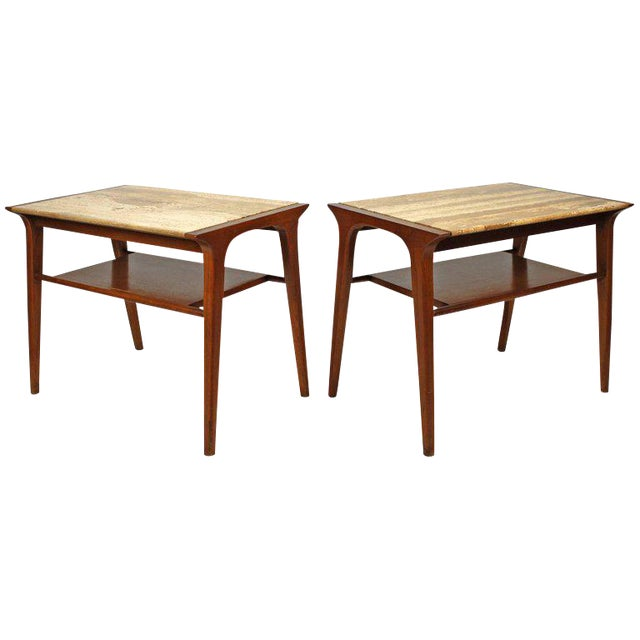 John Van Koert Walnut and Travertine Side Tables for Drexel For Sale