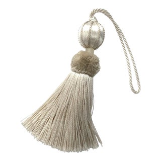 "Boho Chic Ivory Beaded Key Tassel - 4.5"" For Sale"