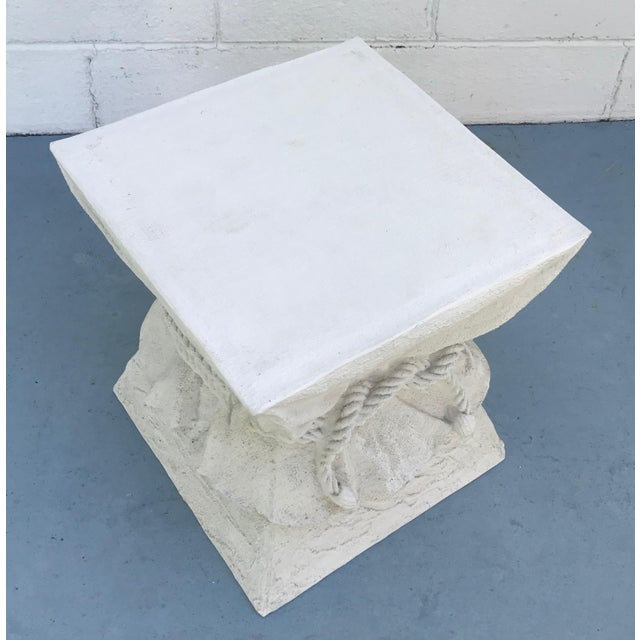 Faux plaster drape table base or pedestal in the style John Dickinson. Textured linen draped with rope closure all done in...
