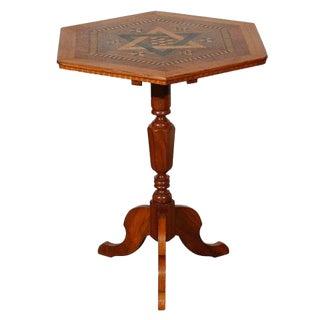 1900s Folk Art Hexagonal Walnut Occasional Table