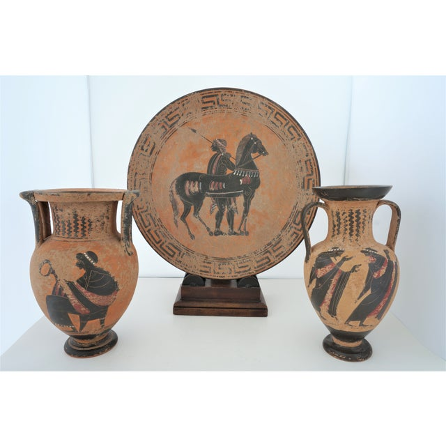 Vintage 1930s Ancient Greek Painted Terra Cotta Garniture - Charger Plate and Two Vases For Sale - Image 13 of 13
