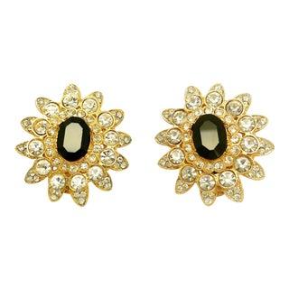 Geometric Flower Clip on Earrings by Kenneth Jay Lane For Sale