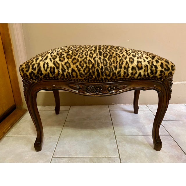 Vintage Leopard Print Ottoman For Sale In New York - Image 6 of 6