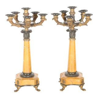 Charles X Style Sienna Marble and Bronze Candelabra For Sale