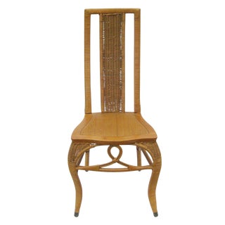 Vintage Heywood Brothers & Wakefield Company Wood and Cane Wicker Rattan Dining Chair