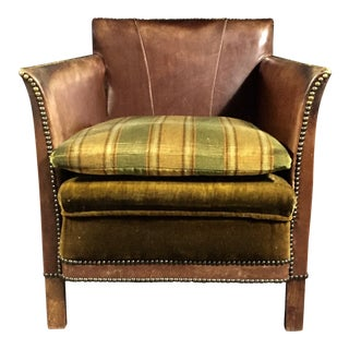 1940s Vintage Swedish Square-Back Leather Club Chair For Sale