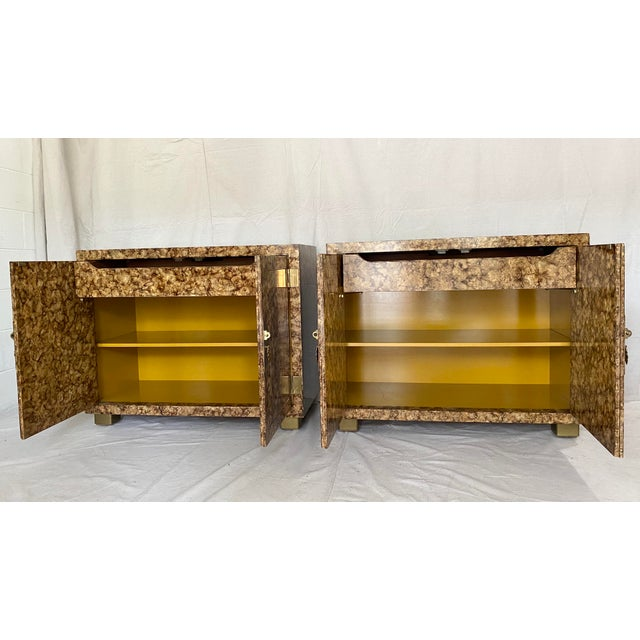 Brown Vintage Henredon Faux Tortoiseshell Cabinets- a Pair For Sale - Image 8 of 13