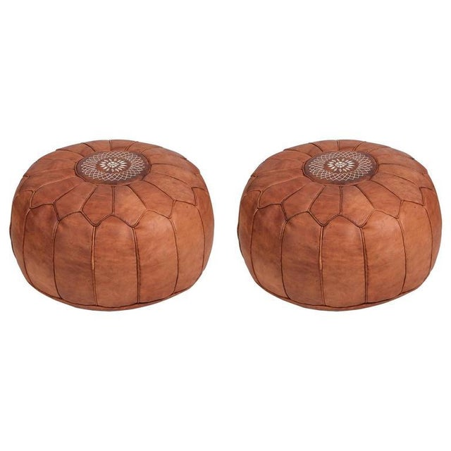 Animal Skin Pair of Round Moroccan Leather Poufs For Sale - Image 7 of 7