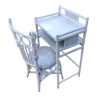 Antique White Wicker Desk & Chair - A Pair For Sale