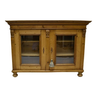 Pine Low Glazed Bookcase or Display
