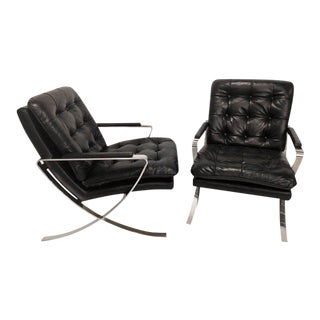 Pair of Black Leather Tufted and Chrome X-Base Cigar Chairs For Sale