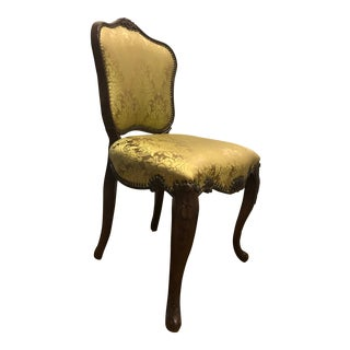 Green Silk Flocked Slipper Chair For Sale