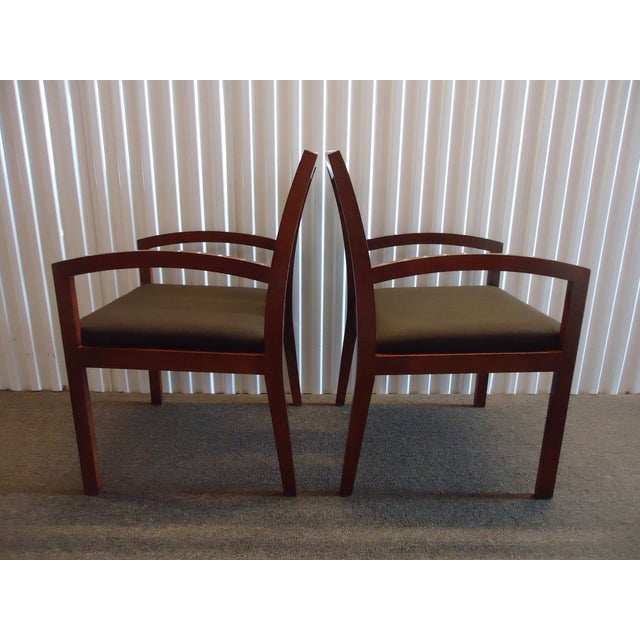 Fabric Kimball Dining Arm Chairs With Brown Fabric - Set of 4 For Sale - Image 7 of 13