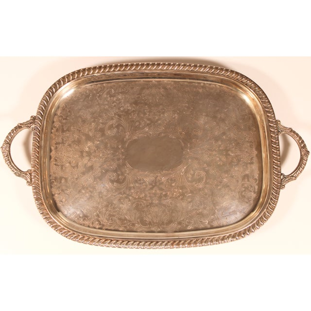 1980s English Silver Plate Footed Serving Tray With Handles For Sale - Image 10 of 11