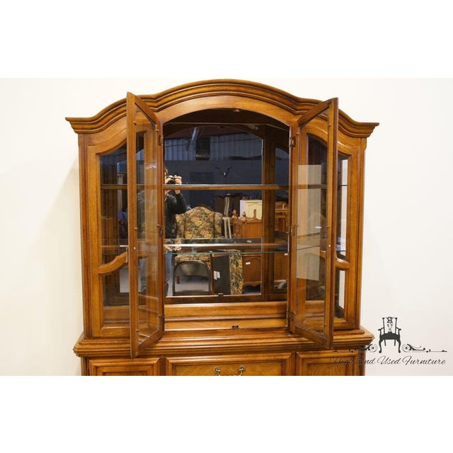 Dixie Late 20th Century Vintage Dixie Country French Oak Buffet & Lighted China Hutch For Sale - Image 4 of 13