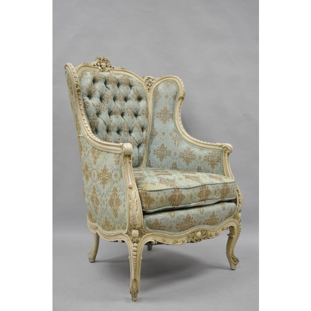 Item: Antique French Louis XV / Provincial Style Cream Painted Bergere  Wingback Chair Details: - Antique French Louis XV Provincial Style Cream Painted Bergere Chair