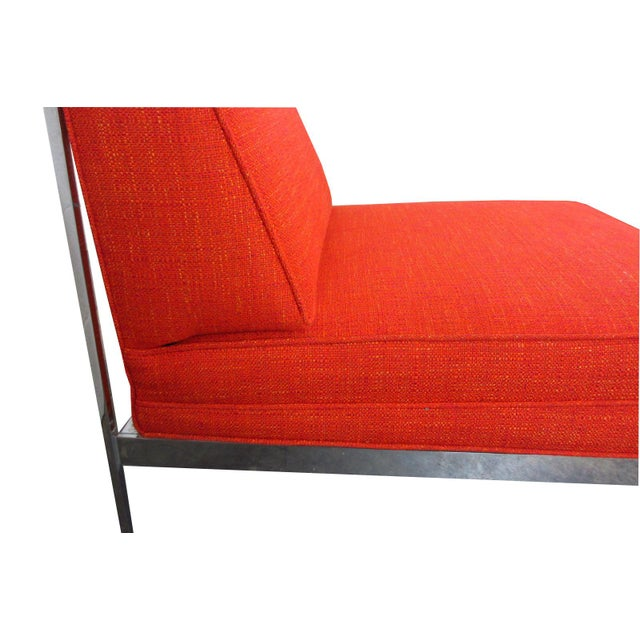 Orange Mid-Century Modern Robert John Company Two Piece Chrome Sectional with Attached Side Table For Sale - Image 8 of 11