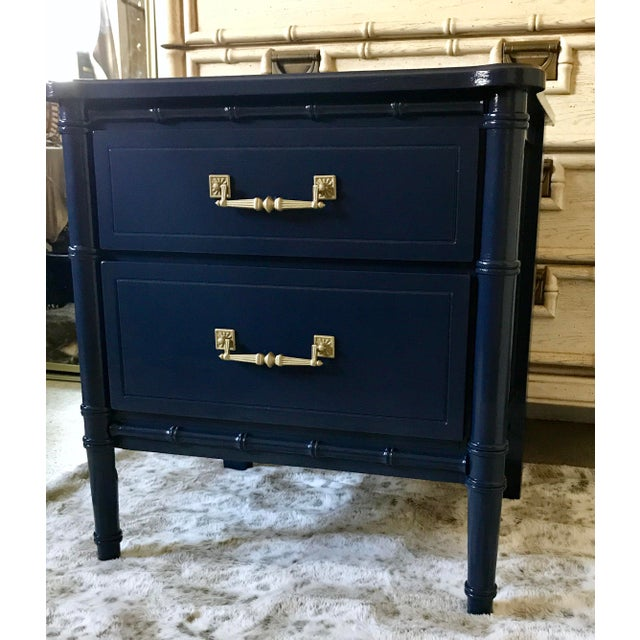 Palm Beach or Hollywood Regency style nightstand designed in the manner of Henry Link's Bali Hai collection. This piece...