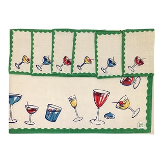 1950s Vintage Linen Cocktail Napkins and Tablecloth - 7 Pieces For Sale