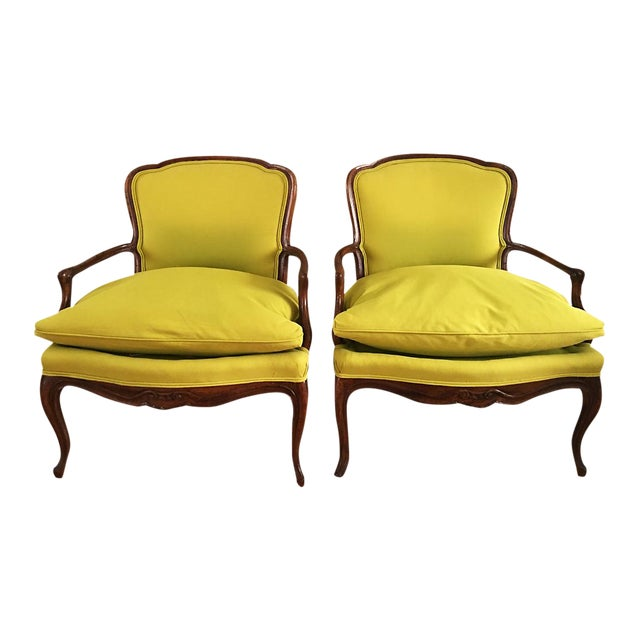 Vintage French Bergere Down Stuffed Chairs - Pair - Image 1 of 9