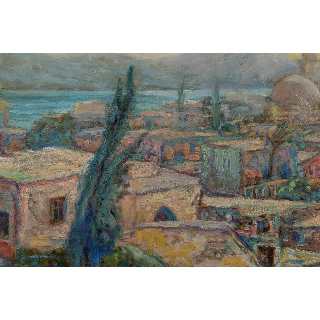 Vintage North African seaside oil on board painting. French or English. No signature.
