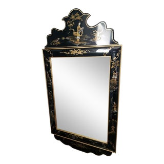 Chinoiserie Style Black Lacquer Mirror