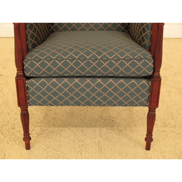 THOMASVILLE Mahogany Sheraton Upholstered Club Chair Age: Approx: 10 Years Old Details: Quality Construction 18 C. Design...