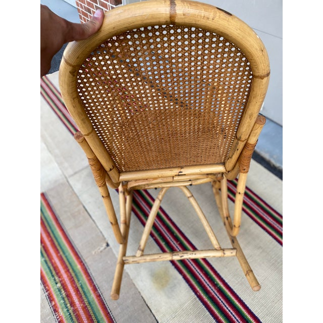 Tan Vintage Mid Century Modern Tiki Bent Bamboo Wood Rocking Chair For Sale - Image 8 of 13