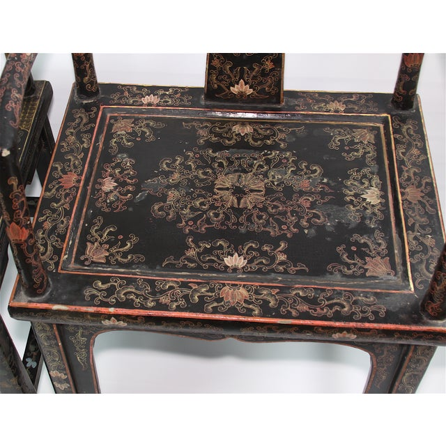Antique Chinese Lacquered Armchairs - A Pair - Image 5 of 10