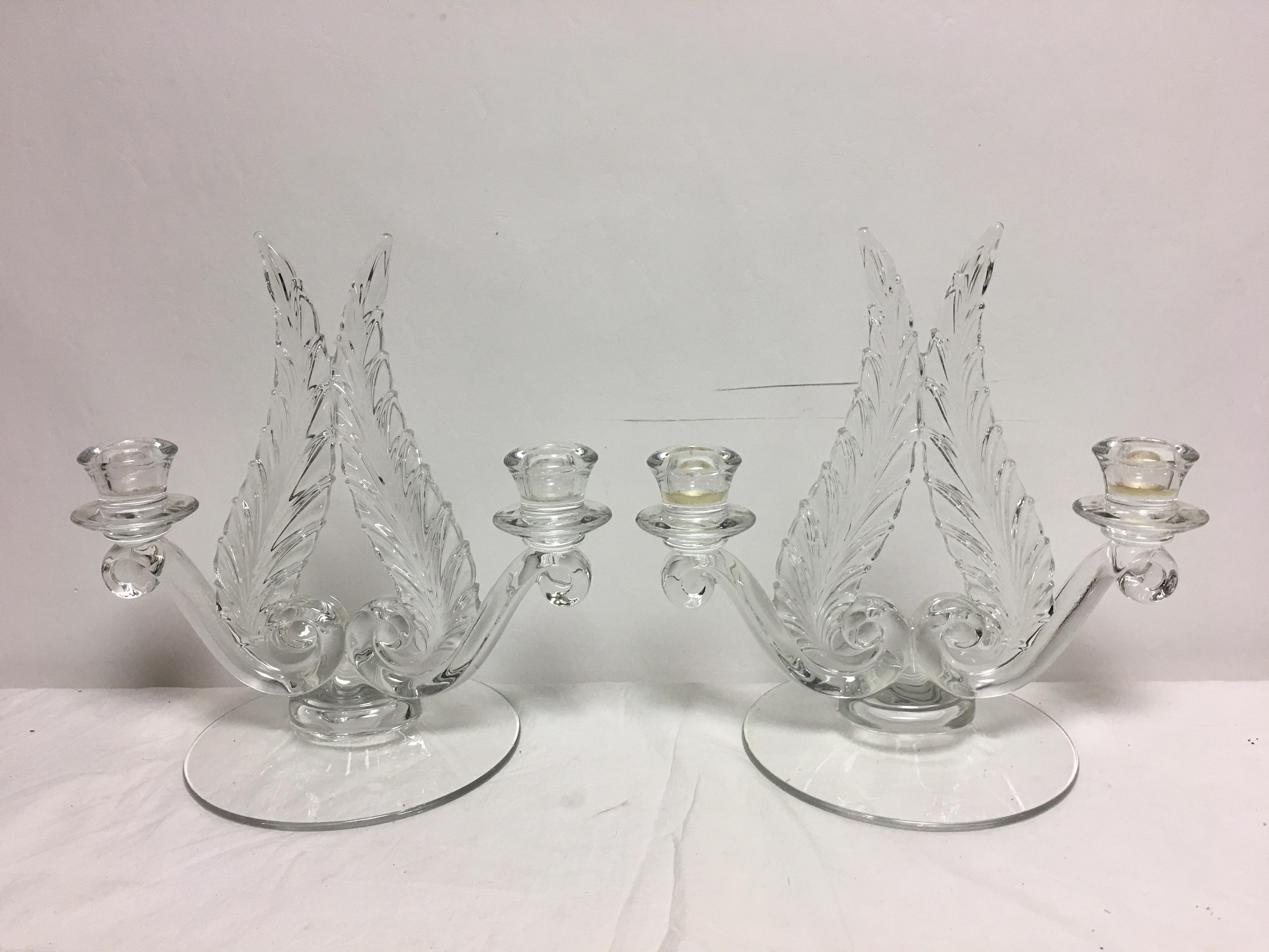 1940 hair styles fostoria plume 1940 s candle holders a pair chairish 4427