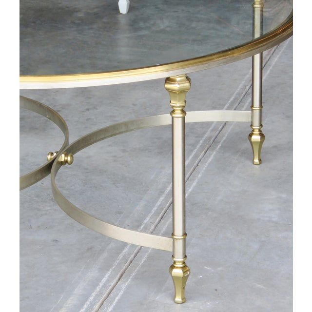 Jansen Style Chrome & Brass Glasstop Coffee Table - Image 2 of 3