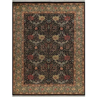 William Pak-Persian Lourdes Black/Lt. Gray Wool Rug -9'1 X 11'9