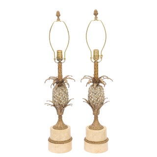 Pair of Gilt Metal Pineapple Form Table Lamps For Sale